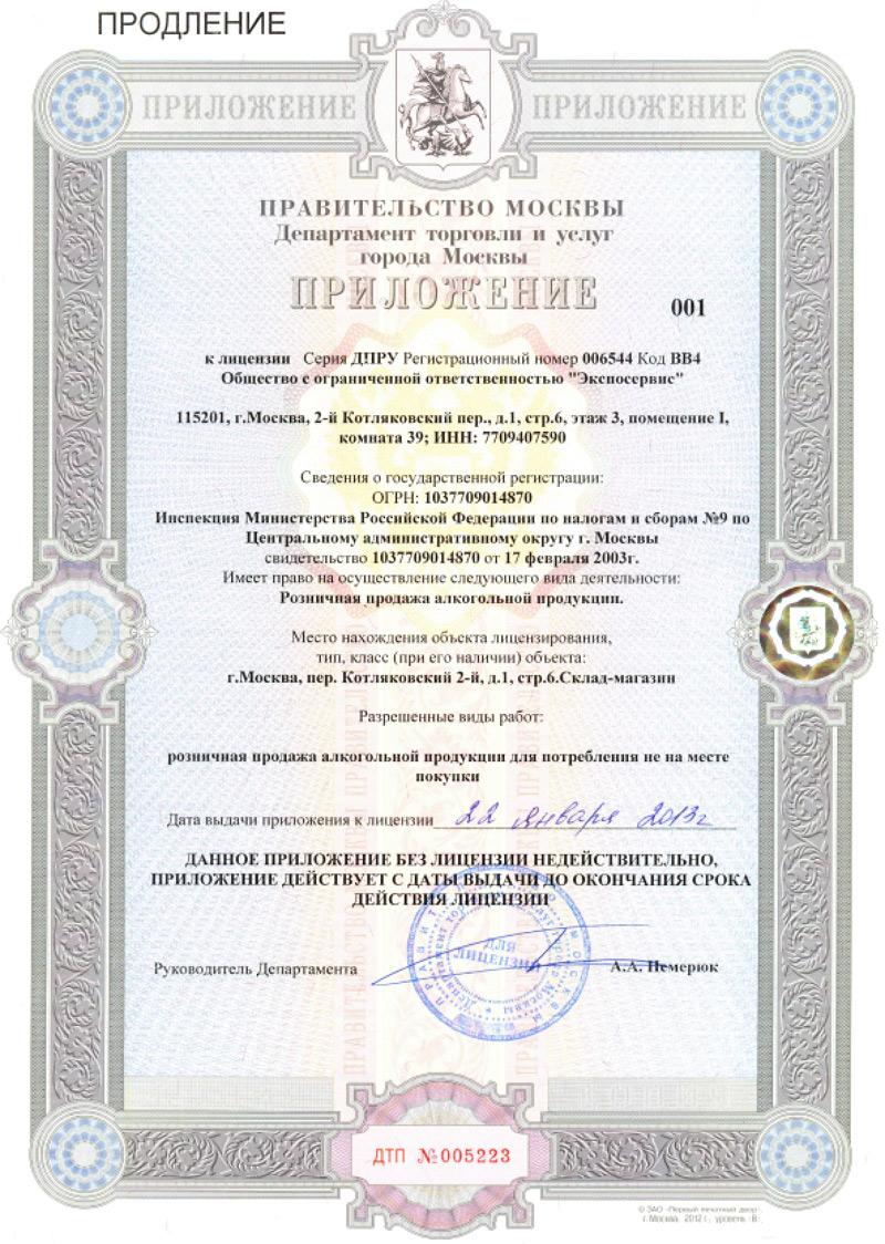 заявление о выдаче лицензии на алкоголь образец